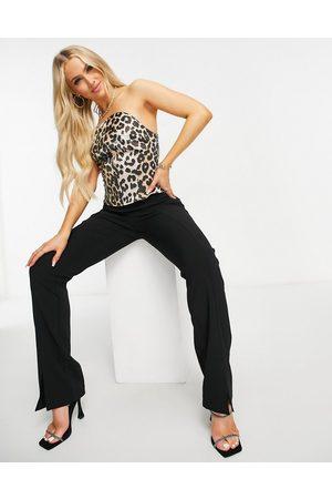 ASOS Bonded satin corset top in leopard print-Multi
