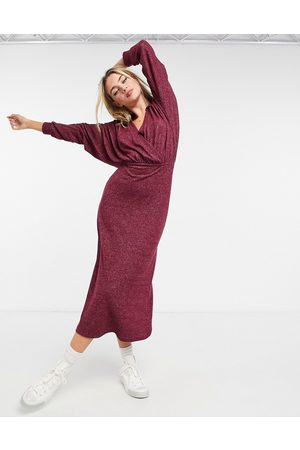 ASOS Super soft midi wrap dress with collar in merlot-Red