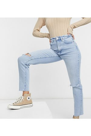 Stradivarius Tall slim mom jean with stretch and rip in light blue