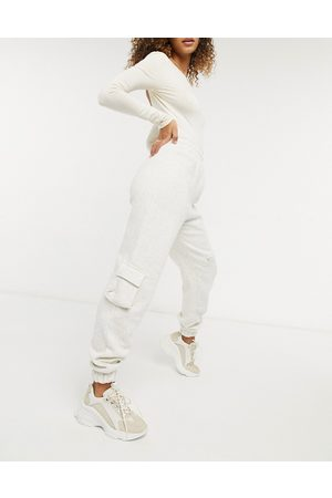 Public Desire Relaxed cargo joggers co-ord in off white