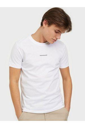 Calvin Klein Herre Singleter - Micro Branding Essential Ss Tee T-skjorter og singleter White