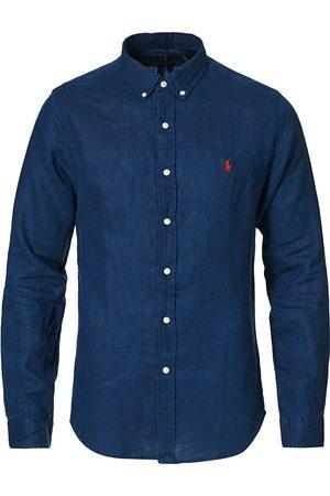 Polo Ralph Lauren Slim Fit Linen Button Down Shirt Newport Navy