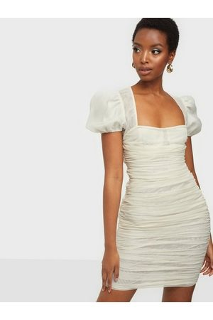 Missguided Dame Bodycon kjoler - Mesh Puff Sleeve Mini Dress White