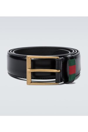 Gucci Herre Belter - Leather belt with Web