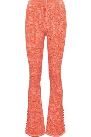 LIVE THE PROCESS Marl ribbed-knit flared pants