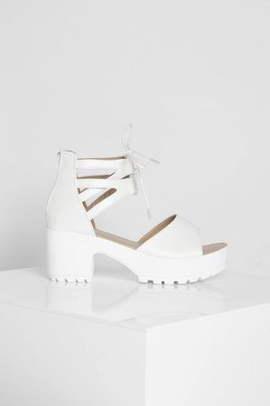 Boohoo Lace Up 2 Part Cleated Sandals
