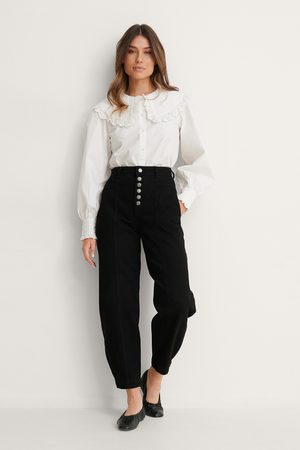 NA-KD Dame Jeans - Button Fly Cocoon Jeans