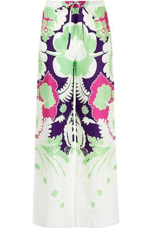 Valentino Dame Slengbukser - Printed wide-leg trousers