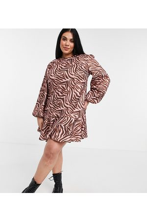 Chi Chi London Tiger print smock dress in brown