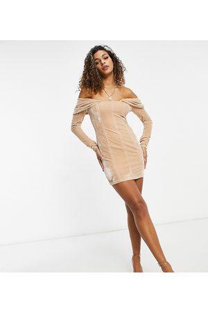EI8TH HOUR Long sleeved bardot velvet mini dress in caramel-Brown