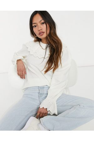 & OTHER STORIES Frill and broderie detail blouse in white