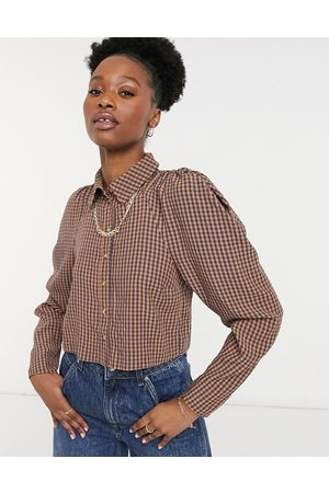 ASOS Seersucker shirt with chain detail in blue and orange gingham-Multi