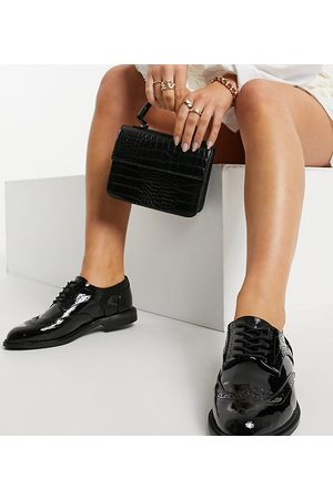 ASOS Wide Fit More flat lace up shoes in black