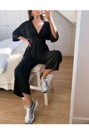 ASOS Kimono sleeve culotte jumpsuit in black