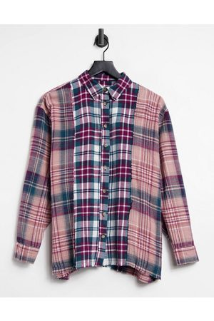 Stradivarius Spliced check oversized boyfriend shirt in multi