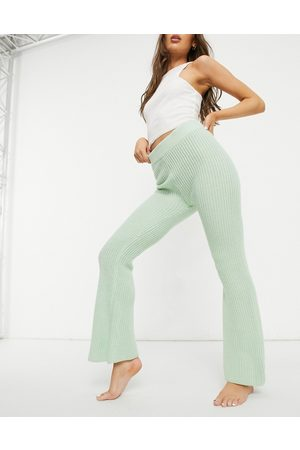 ASOS Mix & match lounge knitted flare trouser in green-Multi