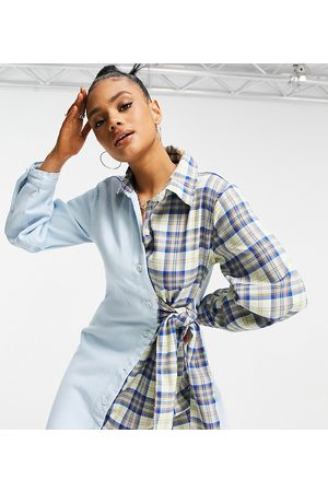 Missguided Denim dress with tie waist in blue contrast check