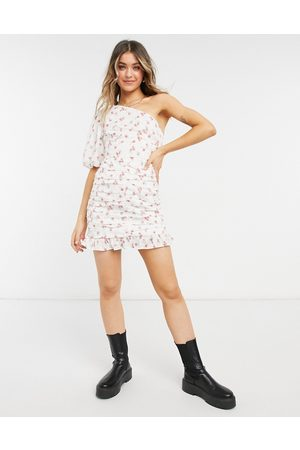 ASOS One shoulder ruched mini dress in floral broderie-Multi