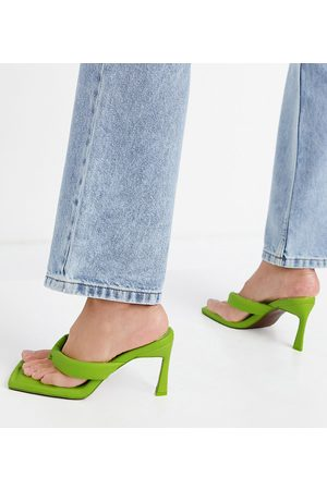 ASOS Wide Fit Haven padded toe thong heeled sandals in lime-Green