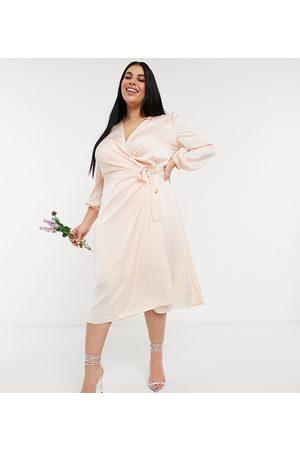 TFNC Bridesmaid satin long sleeve wrap front midi dress in light blush-White