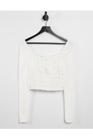 Miss Selfridge Shirred square neck top in white