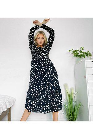 Reclaimed Vintage Inspired shirred midi dress in black spot print