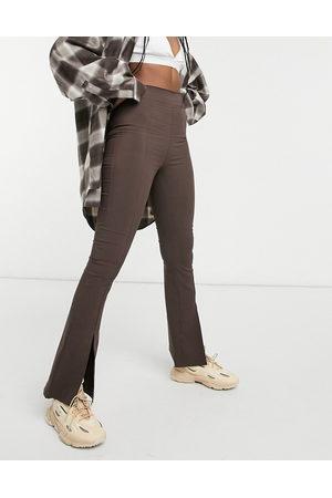 ASOS Split front kick flare trousers in bengaline-Brown