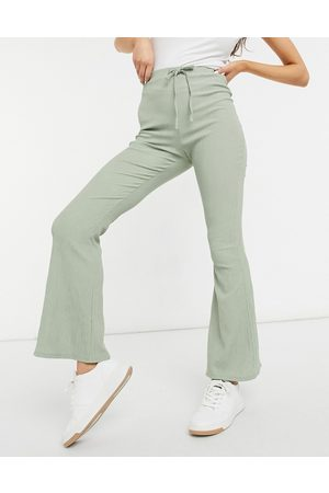 ASOS Textured flare trouser with tie waist in sage-Green