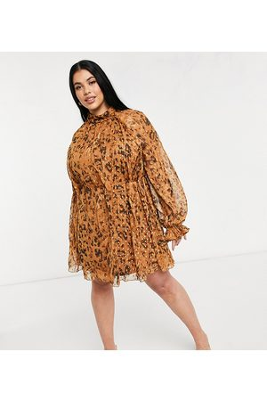 ASOS ASOS DESIGN Curve high neck leopard printed mini dress in jacqaurd chiffon with tie detail-Multi
