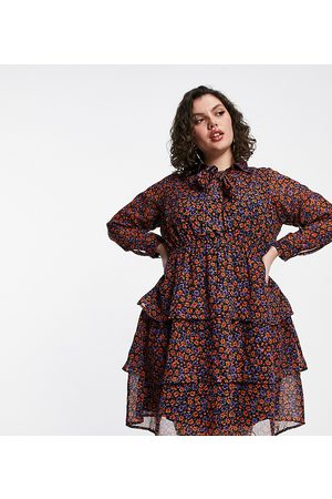 Yours Tiered pussybow tunic mini dress in purple floral