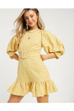 ASOS Broderie puff sleeve mini dress with pephem and eyelet back in mustard-Yellow