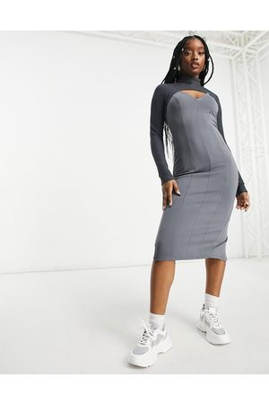ASOS Rib crop overlay midi pencil dress in grey