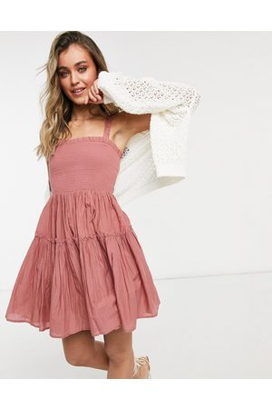 ASOS Cami mini sundress with raw edges in dusky pink