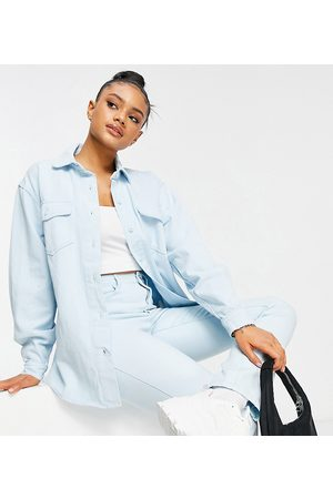Missguided Co-ord denim shirt in light wash-Blue