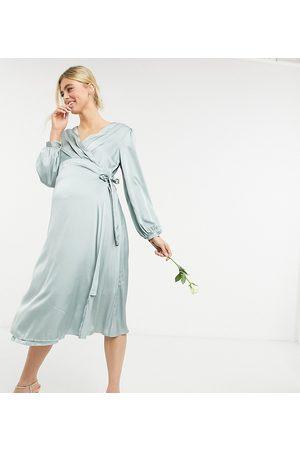 TFNC Bridesmaid satin long sleeve wrap front midi dress in sage-Pink
