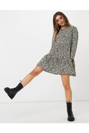 ASOS Long sleeve tiered smock mini dress in animal print-Multi