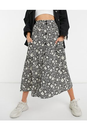 ASOS Button through midi skirt with deep pocket detail in blurred floral print-Multi