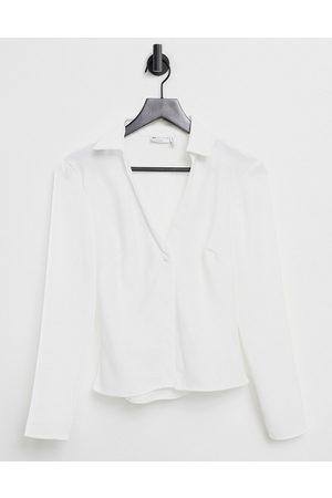ASOS Slim fit satin shirt in ivory-White