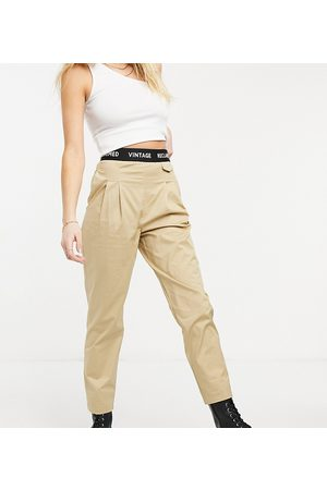 Reclaimed Vintage Inspired original peg trouser with elasticated waistband-Stone