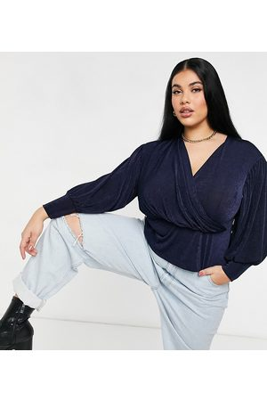 Closet Wrap blouse top with volume sleeve in navy