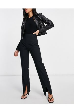 ASOS Hourglass loose slim leg trouser with split front in black