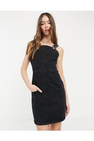 ASOS Denim dungaree pinny dress in washed black