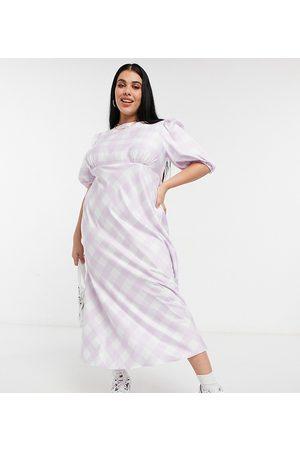 ASOS ASOS DESIGN Curve satin puff sleeve open back midi tea dress in soft check-Multi