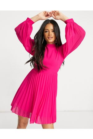 ASOS High neck pleated long sleeve skater mini dress in hot pink