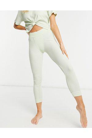 ASOS Mix & match waffle cuffed pyjama legging with elastic waistband in washed lime-Multi