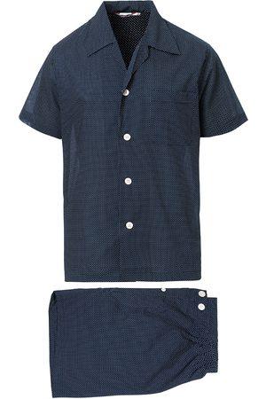 DEREK ROSE Shortie Polka Dot Cotton Pyjama Set Navy