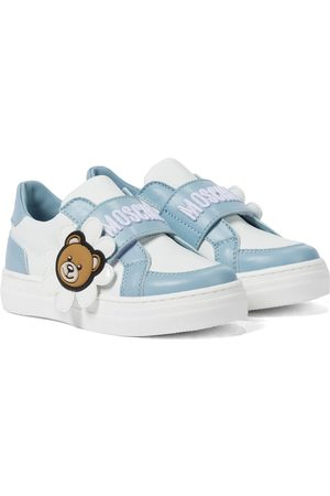 Moschino Kids Logo leather sneakers