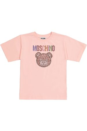 Moschino Kids Kortermede - Embellished stretch-cotton T-shirt