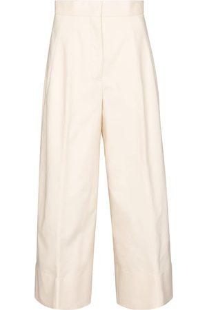 Jil Sander Dame Slengbukser - Wide-leg cotton gabardine pants