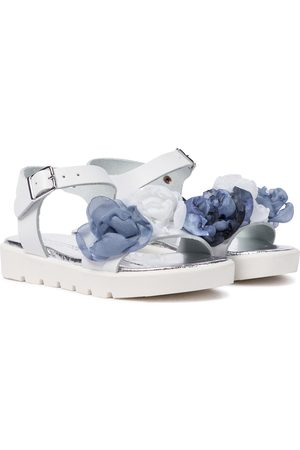 Monnalisa Floral leather sandals